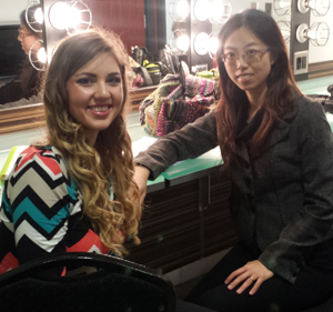 elissa Petrescue with SPC professor Dr. Xu Hui in the dressing room at the Mahaffey Theater before her recent performance with the Florida Orchestra